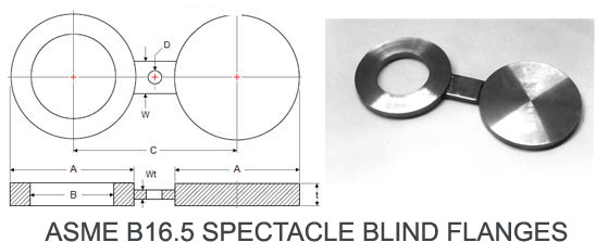 spectacle blinds flanges dimensions