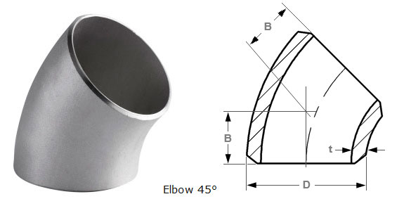 Butt Weld 45 Deg Long Radius Elbow Dimensions