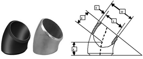Butt Weld 45 Deg Short Radius Elbow Dimensions