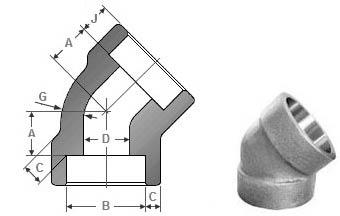 Forged 45 Deg Socket Weld Elbow Dimensions