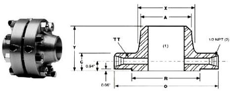 ANSI ASME B16.36 Class 300 Weld Neck Orifice Flanges Dimensions