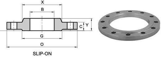 ANSI ASME B16.5 Class 300 Slip On Flange Dimensions