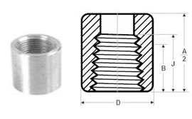 Forged Screwed-Threaded Half Coupling Dimensions