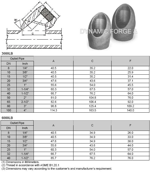 Forged Screwed-Threaded Lateral Outlet Dimensions