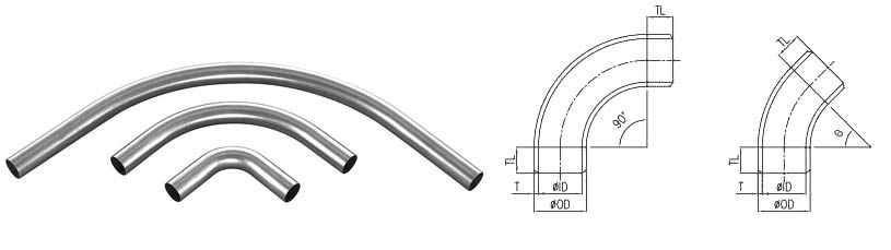 Stainless Steel Pipe Bends Dimensions